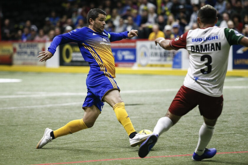 Sockers forward Kraig Chiles moves to shoot under pressure from Monterrey defender Damian Garcia in last season's Western Conference final.