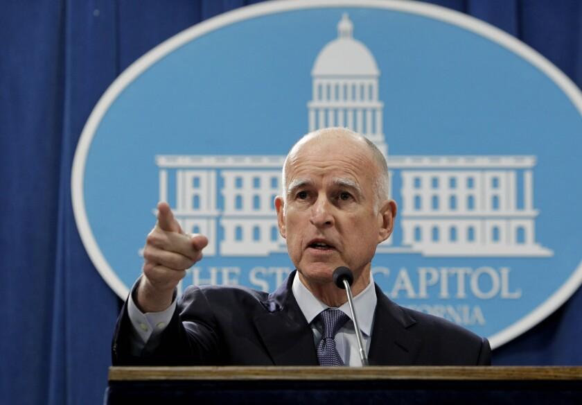 Gov. Jerry Brown speaks at news conference in Sacramento on Nov. 7, 2012