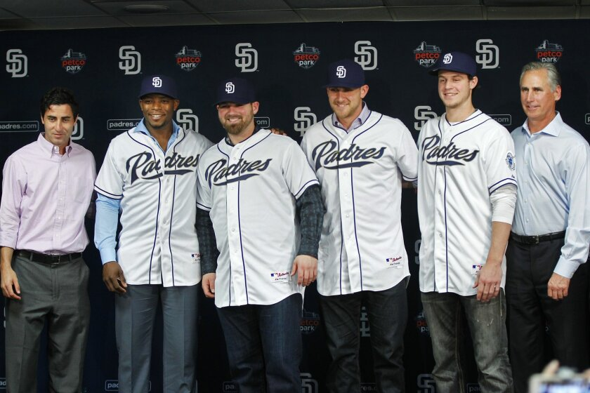 Left to right, Padres General Manager A.J. Preller,  with new acquisitions Justin Upton, Derek Norris, Will Middlebrooks and Wil Myers, along with Manager Bud Black meet with the San Diego media at Petco Park.