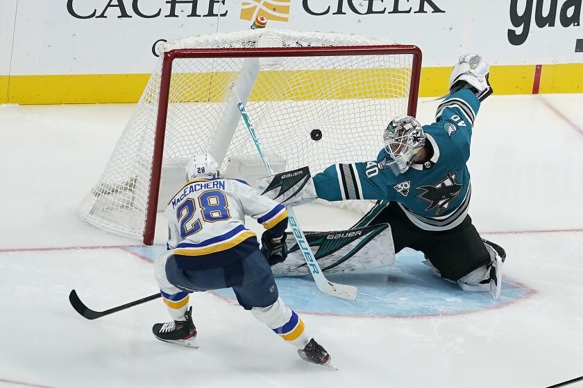 St. Louis Blues left wing Mackenzie MacEachern (28) scores a goal past San Jose Sharks goaltender Devan Dubnyk (40) during the third period of an NHL hockey game in San Jose, Calif., Saturday, Feb, 27, 2021. (AP Photo/Tony Avelar)