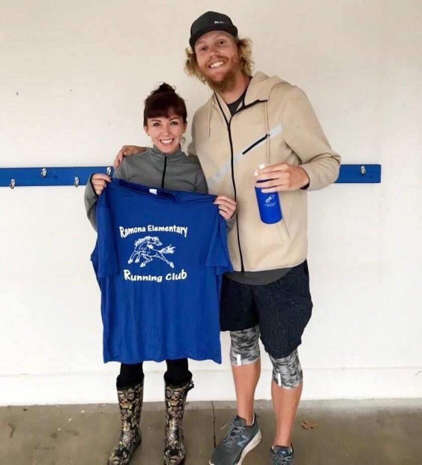 Brady with Ramona Elementary Running Club advisor, Carrie McNulty.