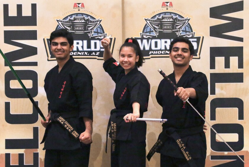 Aarav Chandra, Grace Dabir and Advay Chandra at the ATA Worlds in Phoenix.