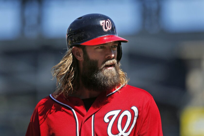 FILE - In this Sept. 14, 2014, file photo, Washington Nationals' Jayson Werth looks on during the first inning of the baseball game against the New York Mets at Citi Field in New York. Werth participated in outfield drills Thursday, Feb. 26, 2015, during the Nationals' first full-squad workout. But the left fielder was generally limited as he recovers from offseason shoulder surgery. (AP Photo/Seth Wenig, File)