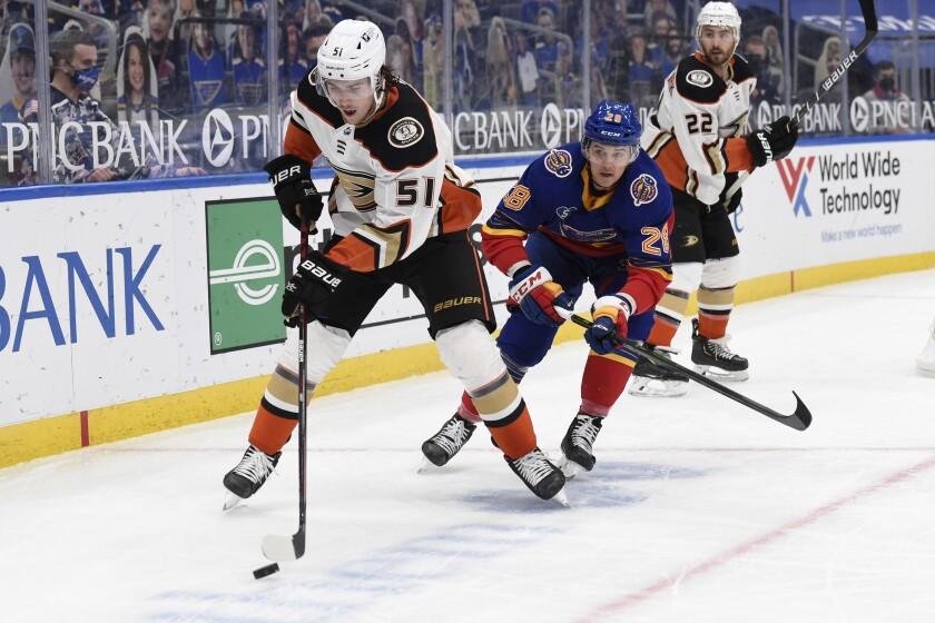 St. Louis Blues' Mackenzie MacEachern pressures Ducks' Haydn Fleury.