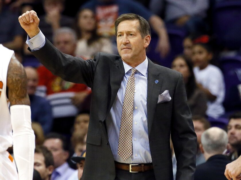 Phoenix Suns head coach Jeff Hornacek calls a play during the first half of an NBA basketball game agains the Sacramento Kings, Wednesday, Nov. 4, 2015, in Phoenix. (AP Photo/Matt York)