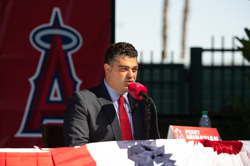 New Angels general manager Perry Minasian speaks at his introductory news conference.