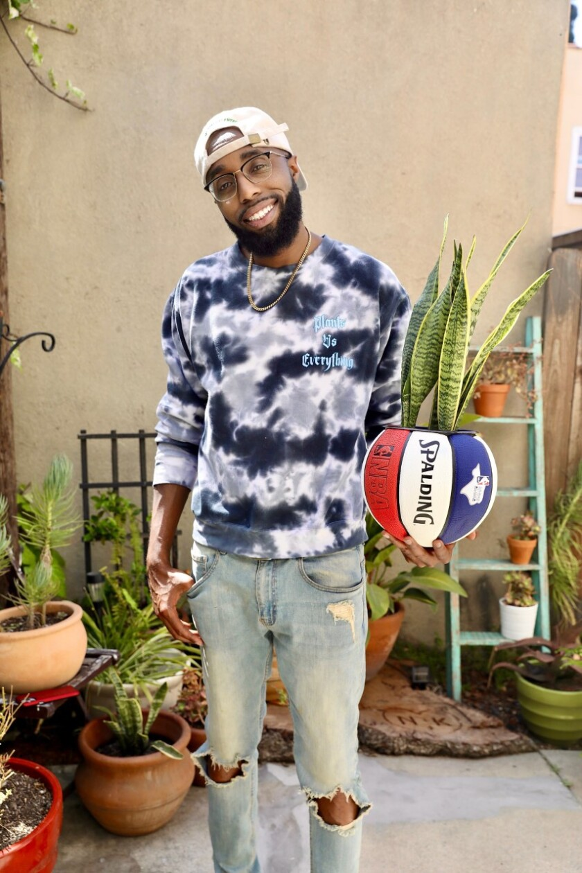 A man holds a red white and blue Spalding basketball planter with a snake plant inside.