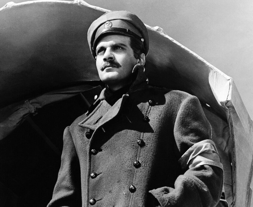 """FILE - In this undated image released by MGM, actor Omar Sharif appears in a scene from the film,""""Doctor Zhivago"""". The tale of five intertwined lovers during final days of Czarist Russia will come to the Broadway stage. Previews will March 27 with an opening on April 21. (AP Photo/MGM, File)"""