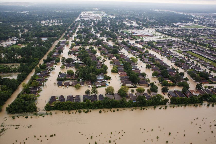A flooded residential neighborhood near Interstate 10 in Houston.