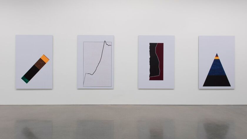 New paintings by Theaster Gates inspired by charts produced by early 20th century sociologist W.E.B. DuBois.