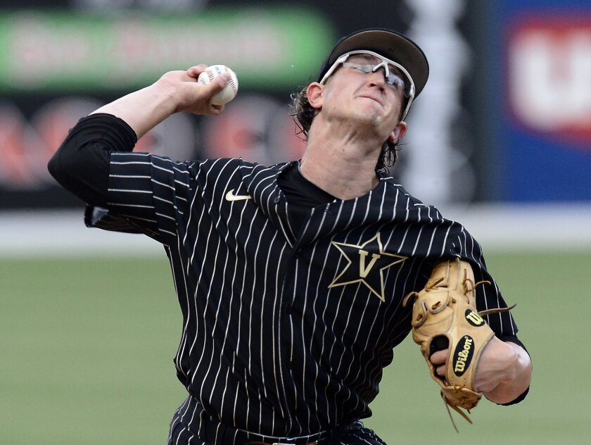 Vanderbilt pitcher Carson Fulmer throws against Lipscomb during the first inning of an NCAA college baseball regional tournament game Friday, May 29, 2015, in Nashville, Tenn. (AP Photo/Mark Zaleski)