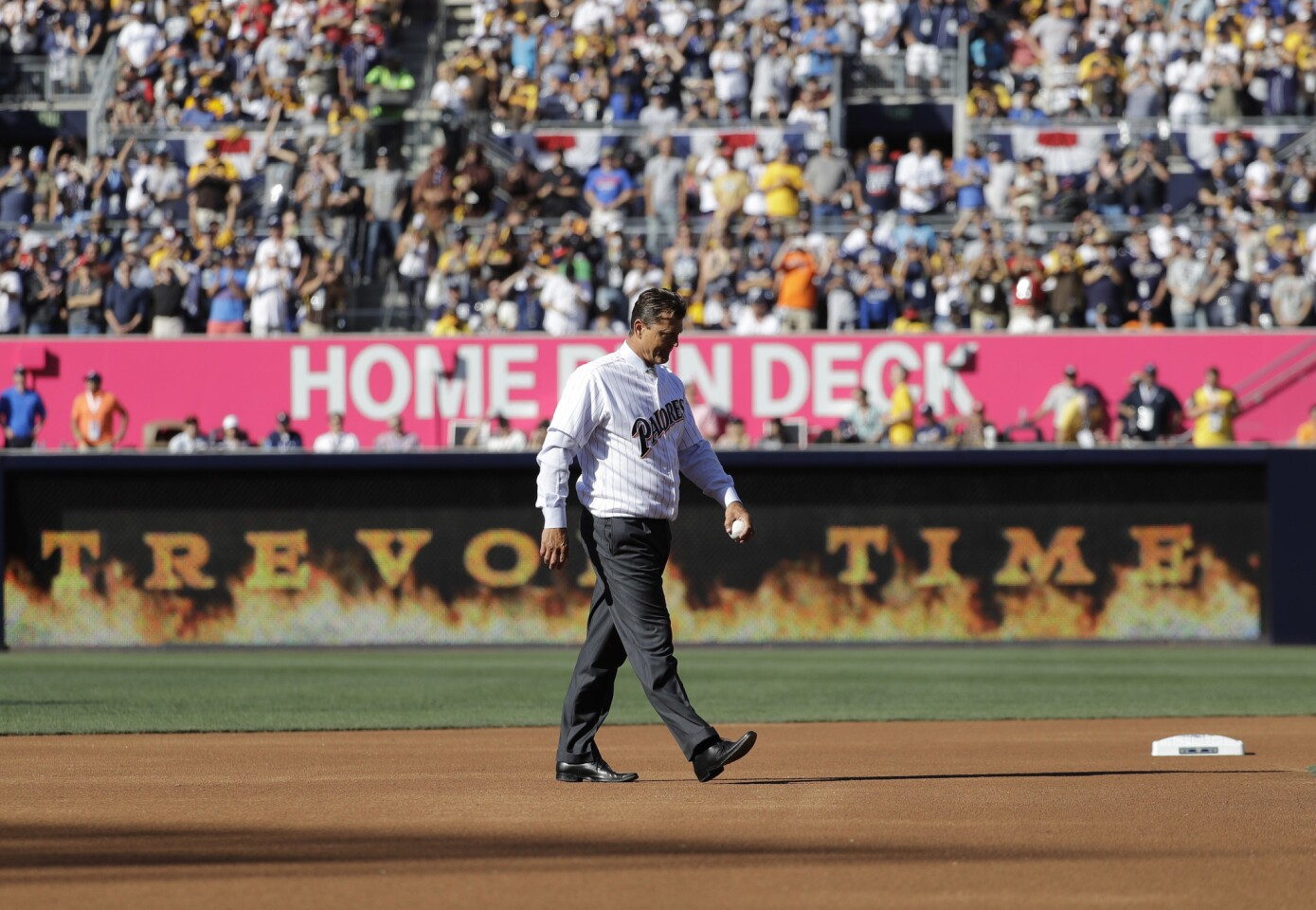 Former San Diego Padre Trevor Hoffman throws out a ceremonial pitch prior to the MLB baseball All-Star Game, Tuesday, July 12, 2016, in San Diego. (AP Photo/Gregory Bull)