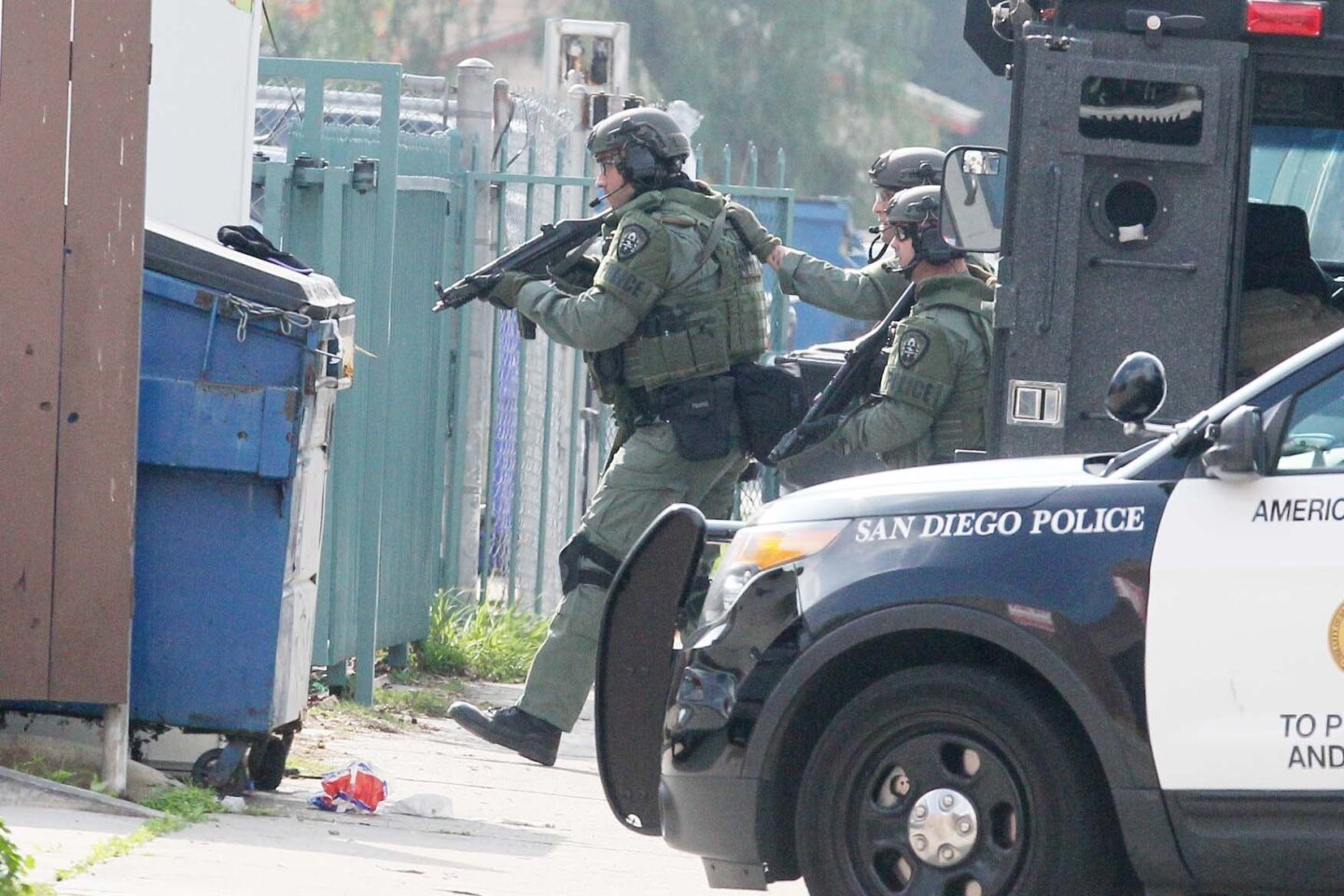 SWAT entered the area of the apartment in formation  many times during the operation.