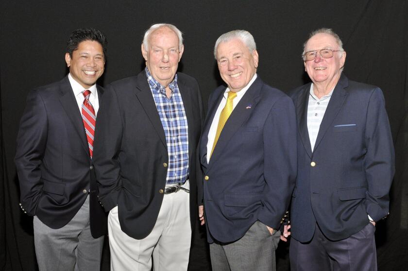 President Eric Manese, Coach John Robinson, founding board member Vearl Smith, Pro Emeritus Chuck Courtney