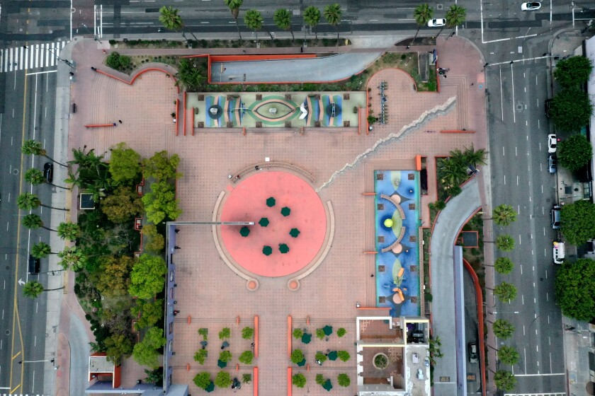 Pershing Square as seen from high above.