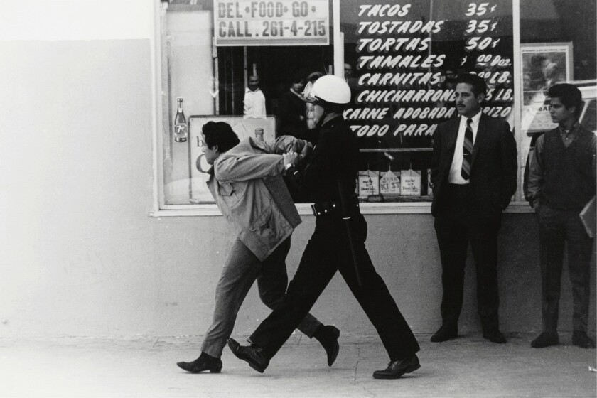 LAPD arresting a Chicano student protester in 1970, by George Rodriguez.