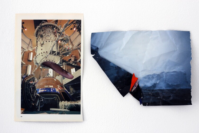 """Suné Woods' """"Landings,"""" from 2015, is a mixed-media collage."""