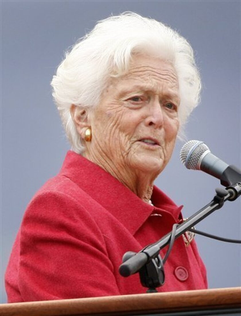 In this Oct. 3, 2008 file photo, former first lady Barbara Bush speaks at a dedication ceremony for the George and Barbara Bush Center at the University of New England, in Biddeford, Maine. A Houston hospital says Bush is in good condition and recovering from ulcer surgery Monday Dec. 1, 2008. Bush, 83, was hospitalized a week ago for abdominal pains and underwent surgery to repair a perforated ulcer Nov. 25. (AP Photo/Robert F. Bukaty, File)