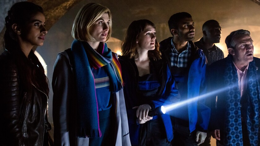 """Mandip Gill, left, Jodie Whittaker, Charlotte Ritchie, Nikesh Patel, Tosin Cole and Bradley Walsh in """"Doctor Who"""" on BBC America."""