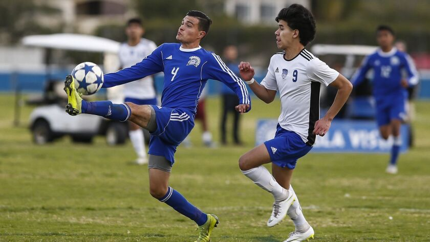 Chula Vista's Guillermo Rocha (4) stops a pass ahead of Central's Christian Quijada (9) in the second half.