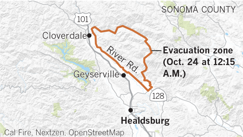 Kincade fire evacuation, as of 12:30 a.m. Thursday