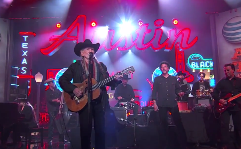 """Willie Nelson performs Friday night on """"Jimmy Kimmel Live."""""""
