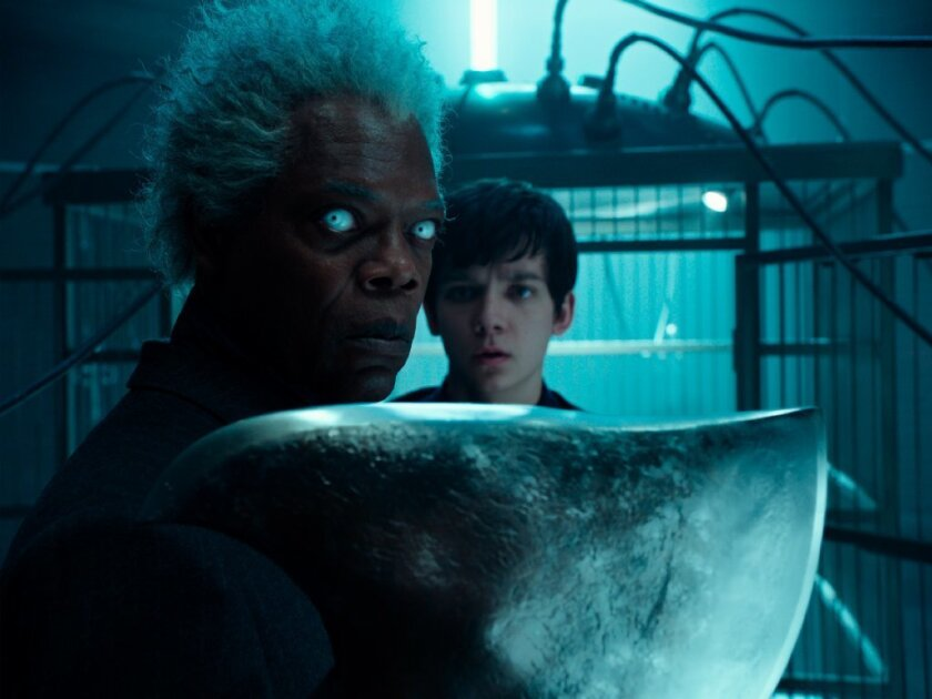 "Samuel L. Jackson, left, as Barron and Asa Butterfield, as Jacob Portman in ""Miss Peregrine's Home for Peculiar Children."""