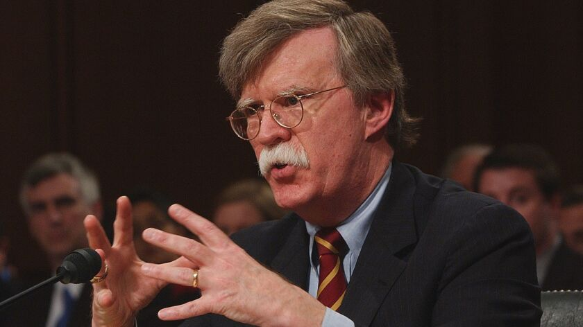 John Bolton speaking before the Senate Foreign Relations Committee on April 11.