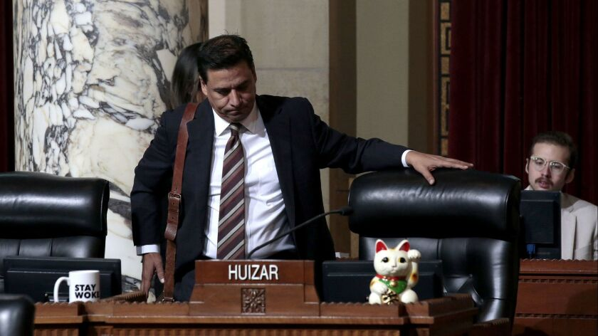 LOS ANGELES, CA-NOVEMBER 20, 2018: LA City Councilman Jose Huizar returns to his first City Council