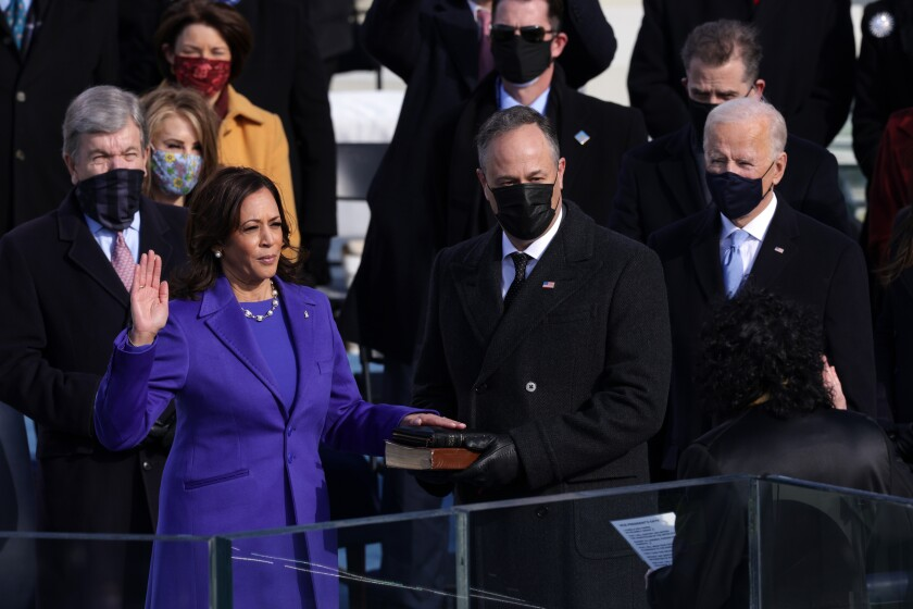 Kamala Harris of California is sworn in as vice president on Inauguration Day at the U.S. Capitol in Washington.