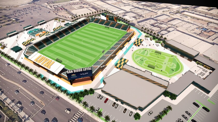 Aerial view of proposed modular stadium for SD Loyal.