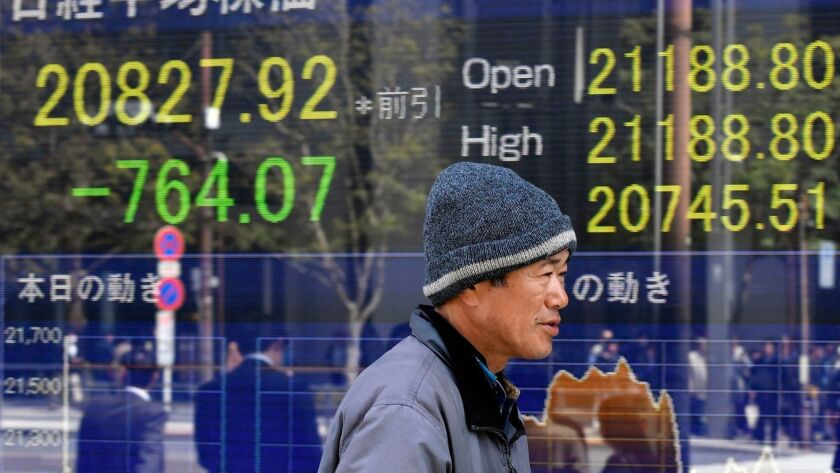 Tokyo stocks plunge folloeing announcement of US tarrifs, Japan - 23 Mar 2018