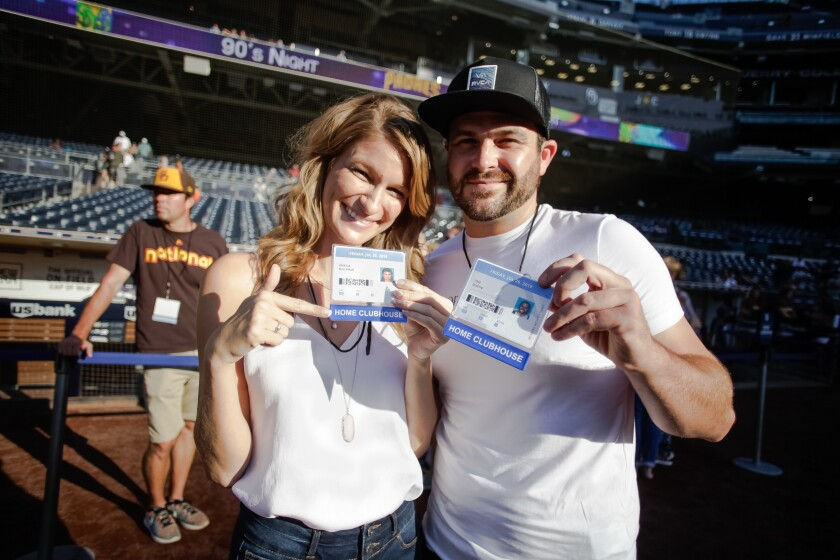 A photo of September blind daters Tom and Kristle  on a blind date at Petco Park.