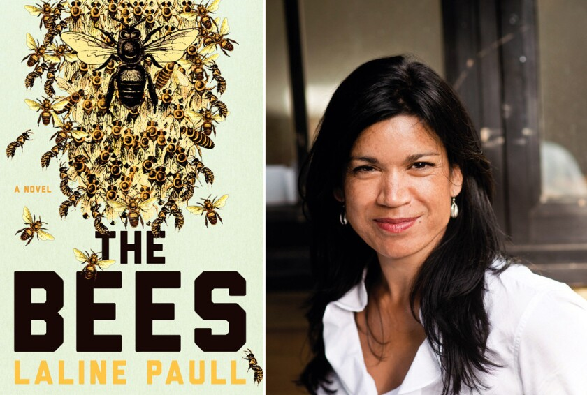 """The cover of """"The Bees"""" and author Laline Paull."""