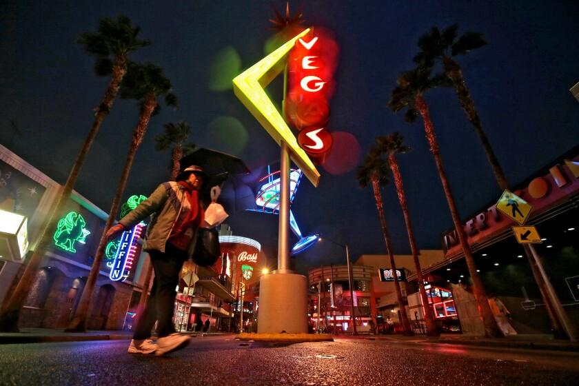 Neon signs brighten Fremont Street in downtown Las Vegas.