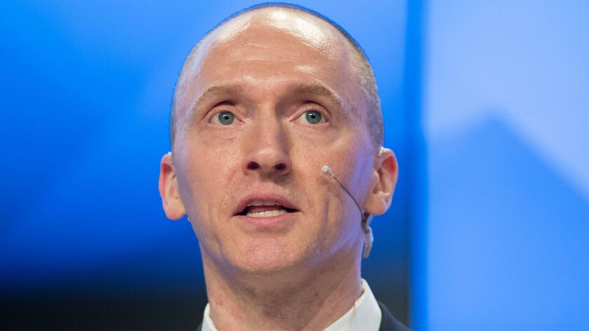 Carter Page speaks ata news conferencein Moscow in December.