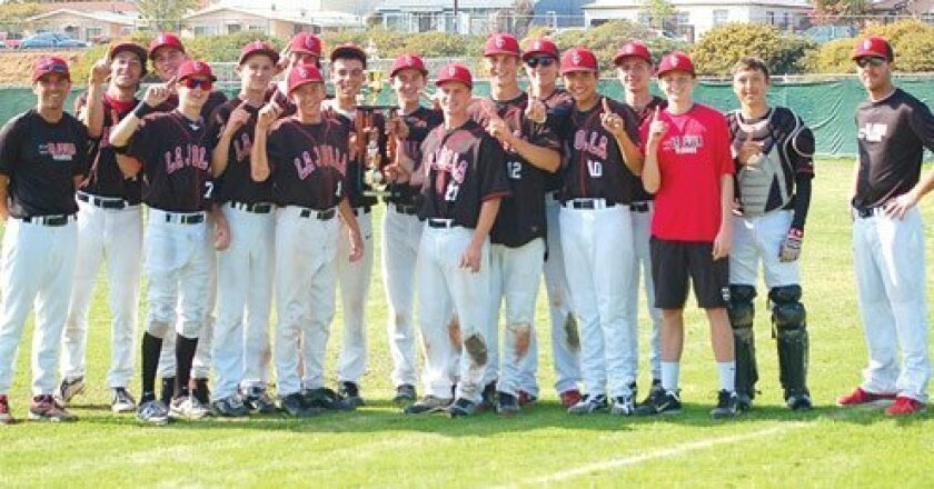La Jolla High School's Junior Varsity baseball team defeated Mission Hills 11-1 on March 16, 2013 to win the Bully's East Championship Trophy.