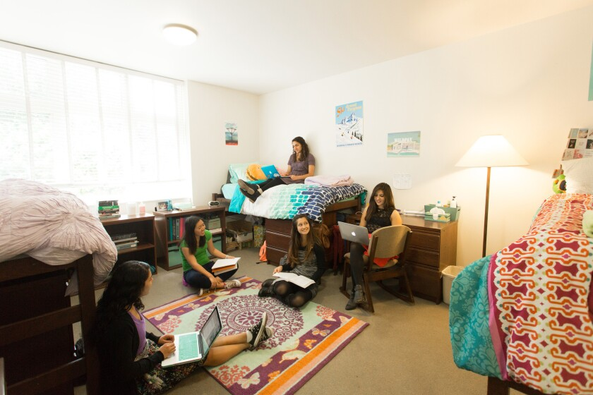 Student dorm rooms at Scripps College, such as this one in Gabrielle Jungels-Winkler Hall, are easy to make stylish, building on the Spanish Colonial Revival architecture. Scripps, one of the Claremont Colleges east of L.A., is considered to have the most beautiful dorms in the U.S.