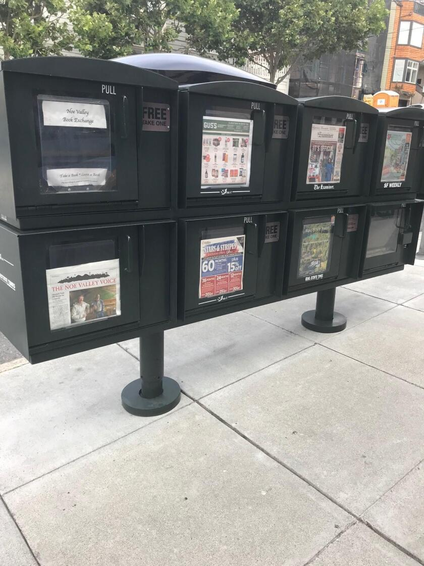READ ALL ABOUT IT! Why don't we have the same kind of neat, well-maintained publication-distribution boxes in La Jolla? These, seen in San Francisco, look dapper and dandy on the city streets. — Shahram Sharafi