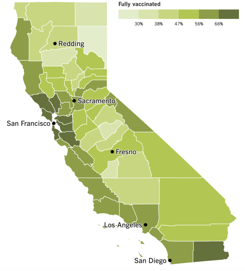 A map showing California's vaccination progress by county.