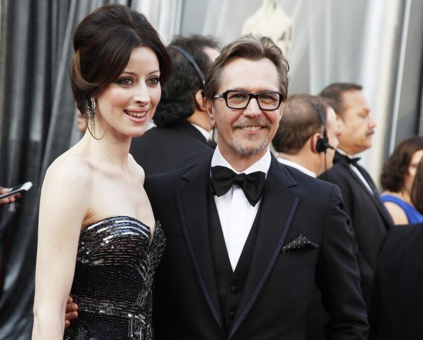 Alexandra Edenborough, left, has filed to divorce actor Gary Oldman. Edenborough is Oldman's fourth wife.