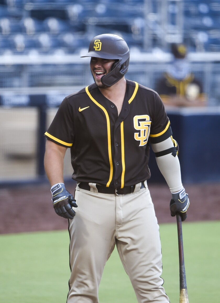 Ty France reacts during a Padres intrasquad game.