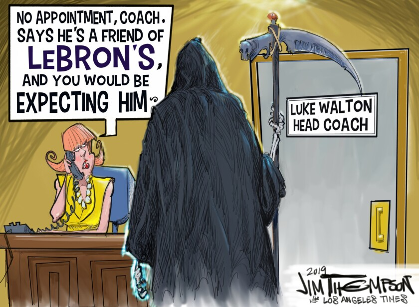 Cartoon showing Lakers head coach Luke Walton about ready to be axed.