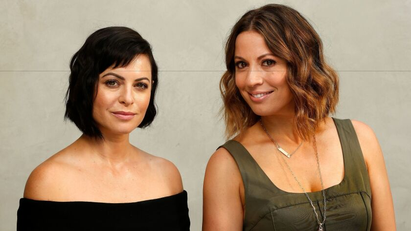 "Sophia Amoruso, left, who wrote the bestselling book ""#Girlboss,"" and Kay Cannon, executive producer"