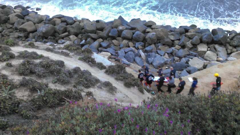 Lifeguards recover body from near foot of Orchard Ave. in Ocean Beach.