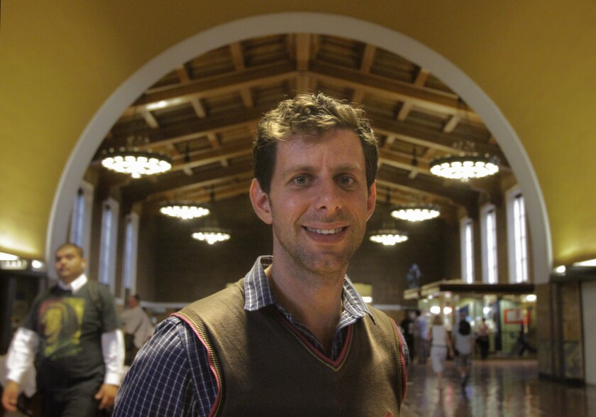 """Yuval Sharon is shown at Union Station in downtown Los Angeles in 2013, when his group, the Industry, staged """"Invisible Cities."""" Sharon will be an artist-collaborator for the L.A. Philharmonic."""