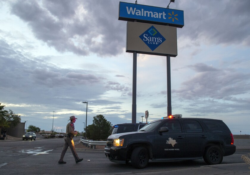 A Texas state trooper near the Walmart where Saturday's shooting took place in El Paso