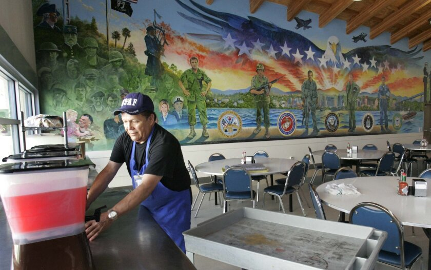 In this file photo, Veterans Village of San Diego resident Will Flores prepared the dining hall for lunch during an open house and dedication ceremony following the completion of the second phase of the nonprofit's three-part expansion.
