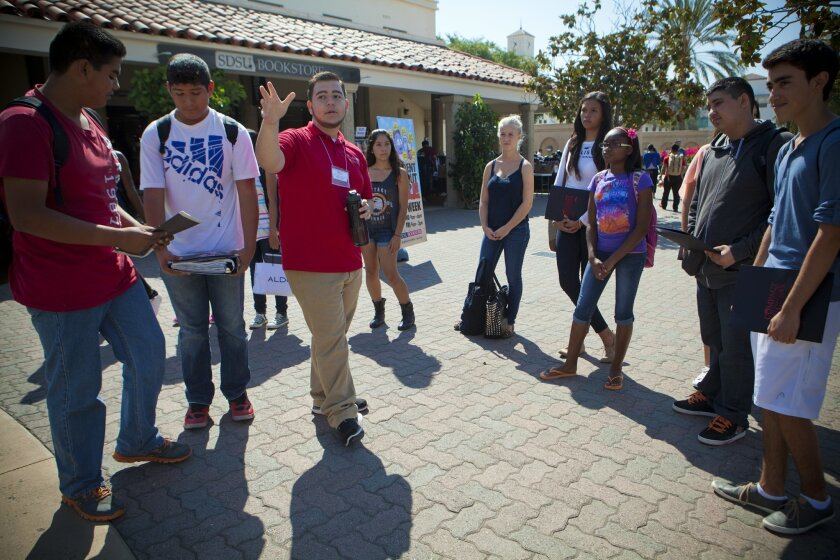 High school students from Sweetwater Union High School District take a tour of San Diego State University as part of the Compact for Success program.