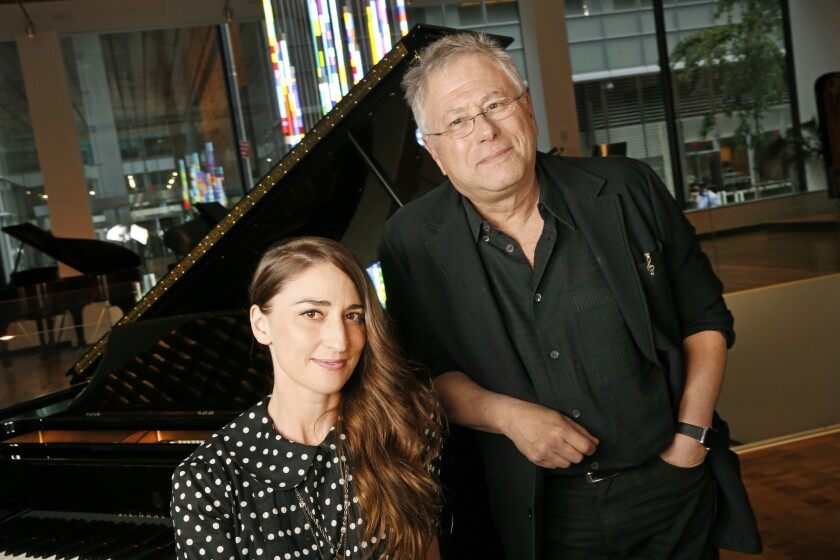 "Pop star Sara Bareilles and composer Alan Menken in New York, ahead of the Hollywood Bowl staging of Disney's ""The Little Mermaid."""